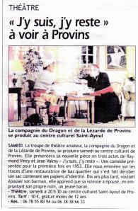 Article L'Est-Eclair 22-03-2012 - Avant PROVINS