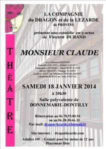 Affiche A4 Monsieur Claude JPEG - Donnemarie-Dontilly - 18 janvier 2014